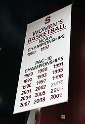 December 19, 2009; Stanford, CA, USA;  Stanford Cardinal women's basketball championships banner before the game between the Tennessee Lady Volunteers and the Stanford Cardinal at Maples Pavilion.  Stanford defeated Tennessee 67-52.