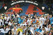 Sevilla players celebrate during the Europa League Final match between Liverpool and Sevilla at St Jakob-Park, Basel, Switzerland on 18 May 2016. Photo by Phil Duncan.