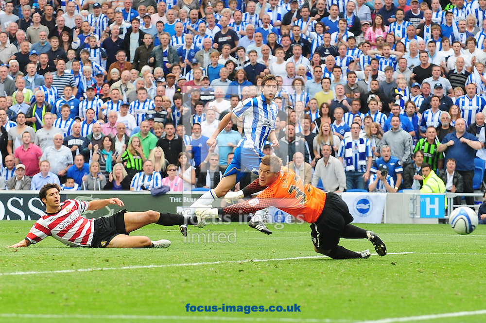 Picture by Alex Broadway/Focus Images Ltd.  07905 628187.6/8/11.Will Buckley of Brighton scores his second goal during the NPower Championship game at the Amex Community Stadium, Brighton, East Sussex.