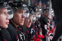KELOWNA, CANADA -FEBRUARY 25: Todd Fiddler #14 of the Prince George Cougars sits on the bench against the Kelowna Rocketson February 25, 2014 at Prospera Place in Kelowna, British Columbia, Canada.   (Photo by Marissa Baecker/Getty Images)  *** Local Caption *** Todd Fiddler;