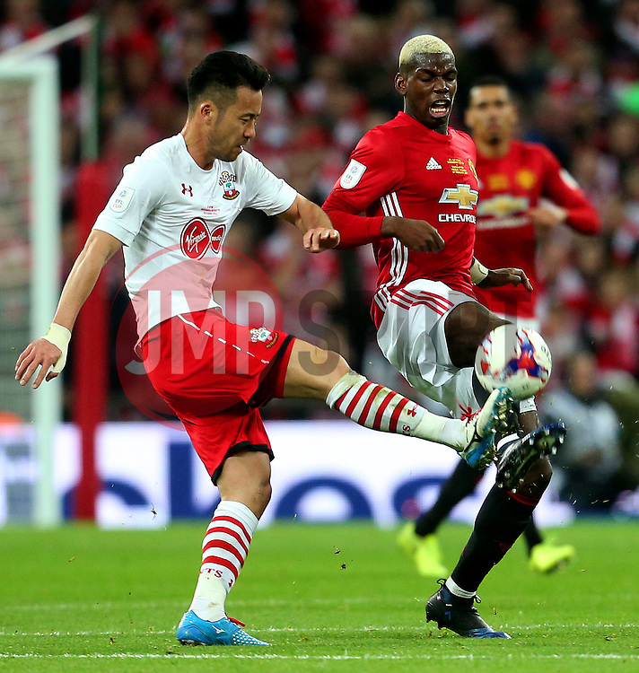 Paul Pogba of Manchester United challenges Maya Yoshida of Southampton - Mandatory by-line: Matt McNulty/JMP - 26/02/2017 - FOOTBALL - Wembley Stadium - London, England - Manchester United v Southampton - EFL Cup Final