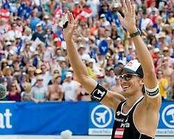 Matthias Mellitzer of Austria celebrating victory at A1 Beach Volleyball Grand Slam tournament of Swatch FIVB World Tour 2010, on July 31, 2010 in Klagenfurt, Austria. (Photo by Matic Klansek Velej / Sportida)