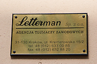 Letterman office sign for translation services in Krakow Poland