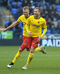 Watford's Almen Abdi (R) celebrates scoring his team's second goal - Photo mandatory by-line: Richard Martin-Roberts/JMP - Mobile: 07966 386802 - 14/02/2014 - SPORT - Football - Bolton - Macron Stadium - Bolton Wanderers v Watford - Sky Bet Championship