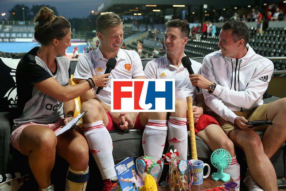 LONDON, ENGLAND - JUNE 20:  Ollie Willars of England and Phil Roper of England are interviewed after the Pool A match between England and South Korea on day six of the Hero Hockey World League Semi-Final at Lee Valley Hockey and Tennis Centre on June 20, 2017 in London, England.  (Photo by Alex Morton/Getty Images)