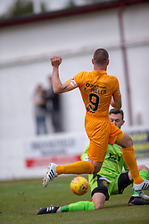 Livingston Kenny Miller scoring their first half goal. Livingston 1 v 0 Annan Athletic, Scottish League Cup Group F, played 21/7/2018 at Prestonfield, Linlithgow.