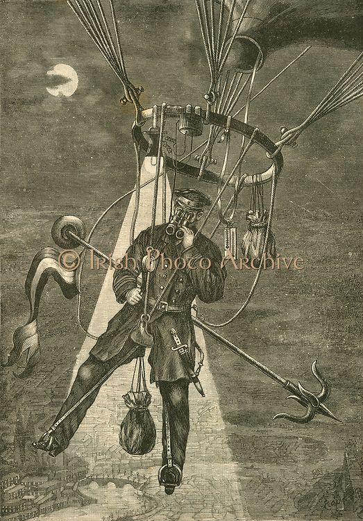 Georg Rodek, German engineer, in his saddle balloon surounded by instruments for meteorological observations. Could also be used for military reconnaisance. Engraving c1890.