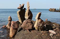 European Stone Stacking 2019 21 April 2019; an entry into the European Stone Stacking 2019 at Eye Cave Beach, Dunbar.<br /> <br /> (c) Chris McCluskie | Edinburgh Elite media