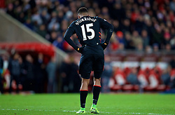 SUNDERLAND, ENGLAND - Monday, January 2, 2017: Liverpool's Daniel Sturridge limps off with an injury to his left foot during the FA Premier League match against Sunderland at the Stadium of Light. (Pic by David Rawcliffe/Propaganda)