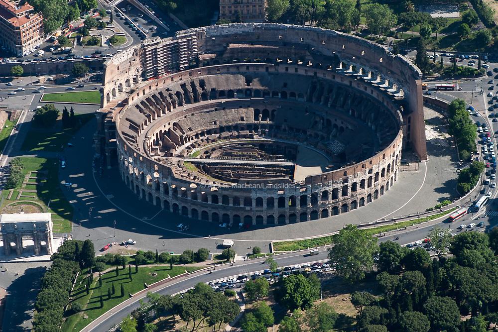 Roman Colosseum and piazza del Colosseo