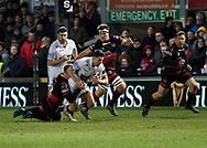 Glasgow Warriors' Adam Hastings is tackled by Dragons' Jack Dixon<br /> <br /> Photographer Simon King/Replay Images<br /> <br /> Guinness PRO14 Round 14 - Dragons v Glasgow Warriors - Friday 9th February 2018 - Rodney Parade - Newport<br /> <br /> World Copyright &copy; Replay Images . All rights reserved. info@replayimages.co.uk - http://replayimages.co.uk