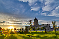 Warm summer light during sunset at the Utah State Capitol building in Salt Lake City.