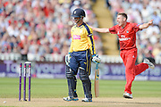 James Faulkner celebrates the wicket of Will Smith during the NatWest T20 Blast Semi Final match between Hampshire County Cricket Club and Lancashire County Cricket Club at Edgbaston, Birmingham, United Kingdom on 29 August 2015. Photo by David Vokes.