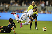 Philadelphia Union midfielder Marco Fabian (10) gets tripped by San Jose Earthquakes defender Guram Kashia (37) during an MLS soccer match won by Philadelphia 2-1, Wednesday, Sept. 25, 2019, in San Jose, Calif. (Peter Klein/Image of Sport)