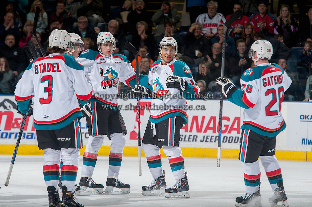 KELOWNA, CANADA - JANUARY 23: Tyrell Goulbourne #12 of Kelowna Rockets celebrates a goal with teammates Leon Draisaitl #29, Joe Gatenby #28, Riley Stadel #3 and Rodney Southam #17 against the Everett Silvertips on January 23, 2015 at Prospera Place in Kelowna, British Columbia, Canada.  (Photo by Marissa Baecker/Shoot the Breeze)  *** Local Caption *** Riley Stadel; Leon Draisaitl; Tyrell Goulbourne; Joe Gatenby; Rodney Southam;