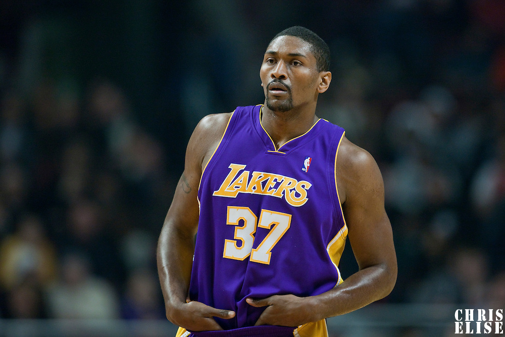 15 December 2009: Los Angeles Lakers forward Ron Artest rests during the Los Angeles Lakers 96-87 victory over the Chicago Bulls at the United Center, in Chicago, Illinois, USA.