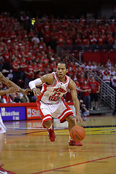 "31 January 2009: Lloyd Phillips hustles around the top of the key. The Illinois State University Redbirds join the Bradley Braves in a tie for 2nd place in ""The Valley"" with a 69-65 win on Doug Collins Court inside Redbird Arena on the campus of Illinois State University in Normal Illinois"