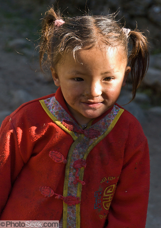 A child in the Khumbu District, in Himalaya of eastern Nepal.