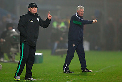 Head coach of Slovenia Matjaz Kek and Head coach of Northern Ireland Nigel Worthington  during EURO 2012 Quaifications game between National teams of Slovenia and Northern Ireland, on March 29, 2011, in Windsor Park Stadium, Belfast, Northern Ireland, United Kingdom. (Photo by Vid Ponikvar / Sportida)