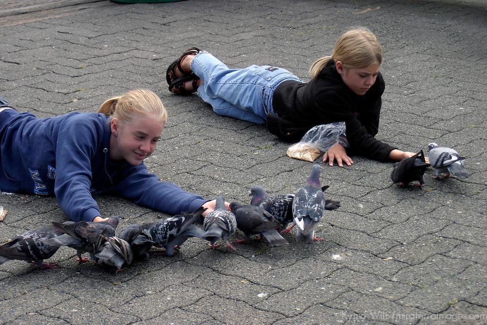 North America, Canada, British Columbia, Vancouver. Feeding pigeons.
