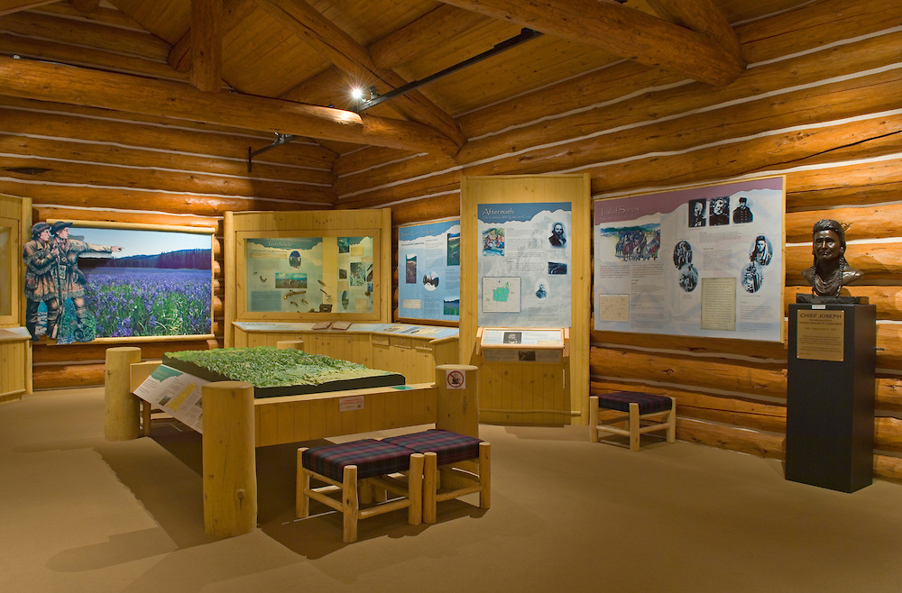 Lolo Pass Visitor Center, interior view of historical exhibits; on the Idaho-Montana border..#05062404