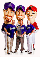 D-backs Alumni and Legends pose for a cover photo shoot at Chase Field in Phoenix, Arizona on August 21, 2012.  (Photo by Jonathan Willey/Arizona Diamondbacks)
