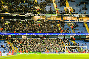 Borussia Monchengladbach fans during the Champions League match between Manchester City and Borussia Monchengladbach at the Etihad Stadium, Manchester, England on 8 December 2015. Photo by Simon Davies.