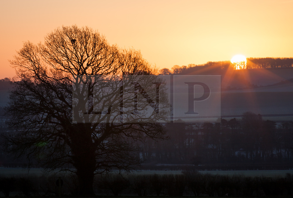 © Licensed to London News Pictures. 04/03/2014. Kingsclere, Hampshire, UK. Frosted fields and clear skies at sunrise near Kingsclere in Hampshire this morning, 4th March 2014. Photo credit : Rob Arnold/LNP