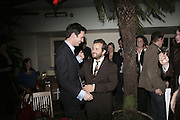 Tom Freud and Tom Sykes,  Book launch for ' What Did I Do last night' by Tom Sykes. Century Club. Shaftesbury Ave. London. 16 January 2006. -DO NOT ARCHIVE-© Copyright Photograph by Dafydd Jones. 248 Clapham Rd. London SW9 0PZ. Tel 0207 820 0771. www.dafjones.com.