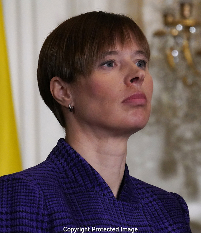 President Kersti Kaljulaid of Estonia; participates in a press conference with leaders of the Baltic states on April 3, 2018. <br />