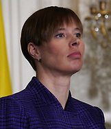President Kersti Kaljulaid of Estonia; participates in a press conference with leaders of the Baltic states on April 3, 2018. <br /> Photo by Dennis Brack