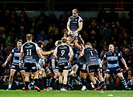 Alun Wyn Jones of Ospreys claims the lineout<br /> <br /> Photographer Simon King/Replay Images<br /> <br /> Guinness PRO14 Round 21 - Cardiff Blues v Ospreys - Saturday 27th April 2019 - Principality Stadium - Cardiff<br /> <br /> World Copyright © Replay Images . All rights reserved. info@replayimages.co.uk - http://replayimages.co.uk