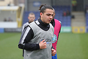 AFC Wimbledon attacker Egli Kaja (21) warming up during the EFL Sky Bet League 1 match between AFC Wimbledon and Blackpool at the Cherry Red Records Stadium, Kingston, England on 20 January 2018. Photo by Matthew Redman.