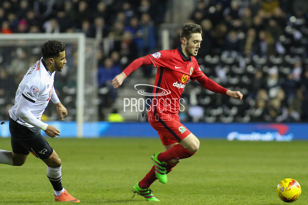Blackburn Rovers midfielder Matt Grimes on the ball during the Sky Bet Championship match between Derby County and Blackburn Rovers at the iPro Stadium, Derby, England on 24 February 2016. Photo by Aaron  Lupton.