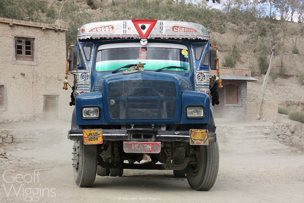 Locally modified Indian Tata truck, high in the Himalayas, Drass, India