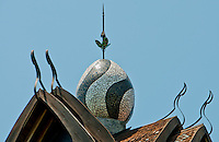Egg-shaped tower rooftop at Amlapura Palace in Bali, Indonesia