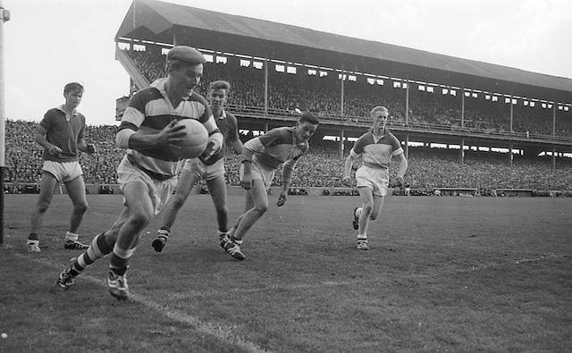 Cork goalie clears but crosses the line to concede a 50 yard free at the All Ireland Minor Gaelic Football final Cork V. Offaly in Croke Park on 27th September 1964.