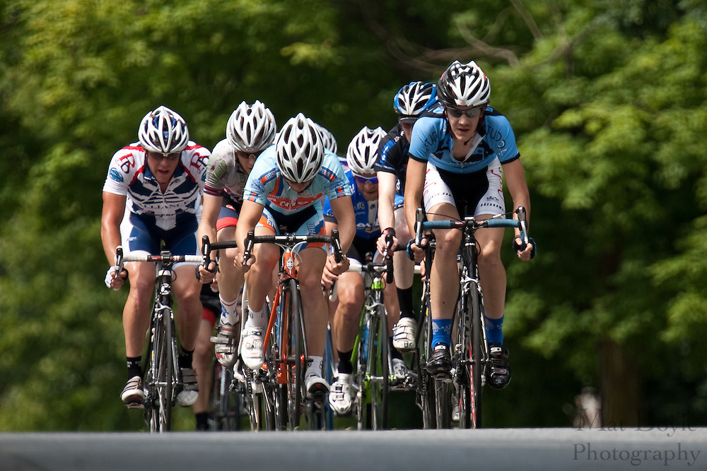 Racers approach the peak of the Laurel Ave. hill during the 2010 Bob Riccio Tour De Pitman.