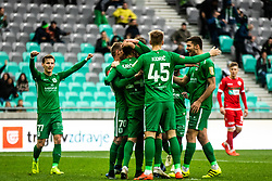 Kidric Rok of NK Olimpija Ljubljana and NK Olimpija celebrate during football match between NK Olimpija Ljubljana and NK Aluminij in Round #27 of Prva liga Telekom Slovenije 2018/19, on April 14th, 2019 in Stadium Stozice, Slovenia Photo by Matic Ritonja / Sportida