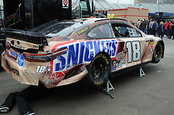 February 23, 2019 - Hampton, GA, U.S. - HAMPTON, GA - FEBRUARY 23: The wrecked primary car of Kyle Busch, Joe Gibbs Racing, Toyota Camry Snickers Creamy (18) sits in the garage during practice for the Monster Energy Cup Series QuikTrip Folds of Honor 500 on February 23, 2019, at Atlanta Motor Speedway in Hampton, GA.(Photo by Jeffrey Vest/Icon Sportswire) (Credit Image: © Jeffrey Vest/Icon SMI via ZUMA Press)