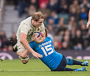 Twickenham, United Kingdom. Joe LAUNCHBURY, breaking with the ball,  during the  6 Nations International Rugby Match, England vs Italy at the RFU Stadium, Twickenham, England, <br /> <br /> Sunday  26/02/2017<br /> <br /> [Mandatory Credit; Peter Spurrier/Intersport-images]