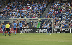 August 20, 2017 - New York, New York, United States - Goalkeeper Ssean Johnson (1) of NYC FC saves during regular MLS game against New England Revolution on Yankee stadium NYC FC won 2 - 1  (Credit Image: © Lev Radin/Pacific Press via ZUMA Wire)