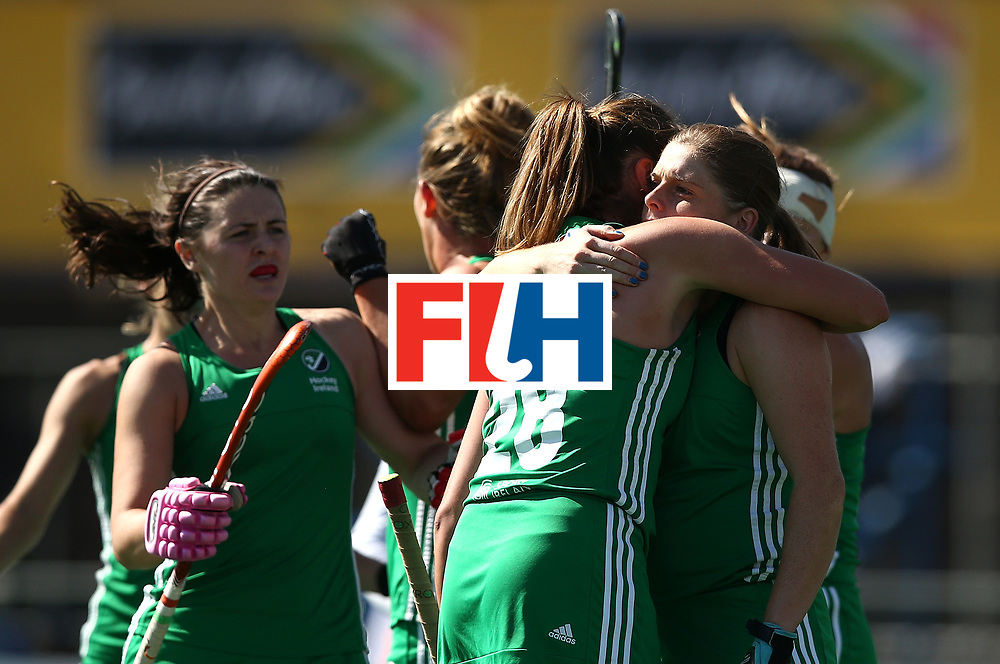 JOHANNESBURG, SOUTH AFRICA - JULY 22:  Kathryn Mullan of Ireland (R) celebrates her goal with team mates during day 8 of the FIH Hockey World League Women's Semi Finals 7th/ 8th place match between India and Ireland at Wits University on July 22, 2017 in Johannesburg, South Africa.  (Photo by Jan Kruger/Getty Images for FIH)