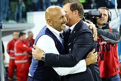 """Foto Filippo Rubin<br /> 07/10/2018 Ferrara (Italia)<br /> Sport Calcio<br /> Spal - Inter - Campionato di calcio Serie A 2018/2019 - Stadio """"Paolo Mazza""""<br /> Nella foto: LEONARDO SEMPLICI (ALLENATORE SPAL) E LUCIANO SPALLETTI (ALLENATORE INTER)<br /> <br /> Photo Filippo Rubin<br /> October 07, 2018 Ferrara (Italy)<br /> Sport Soccer<br /> Spal vs Inter - Italian Football Championship League A 2018/2019 - """"Paolo Mazza"""" Stadium <br /> In the pic: LUCIANO SPALLETTI (INTER TRAINER) AND LEONARDO SEMPLICI (SPAL'S TRAINER)"""