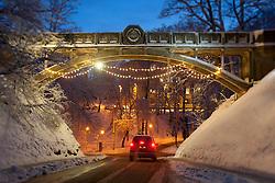 Snow Covered Devil`s Bridge in Winter, Night, Tartu
