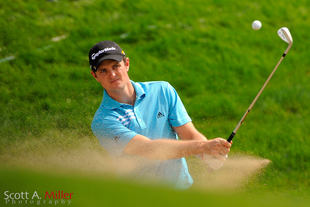 Aug 13, 2009; Chaska, MN, USA; Justin Rose (GBR) hits out of a greenside bunker on the 7th hole during the first round of the 2009 PGA Championship at Hazeltine National Golf Club.  ©2009 Scott A. Miller