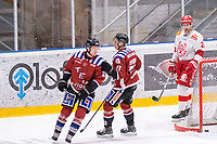 2020-01-19 | Umeå, Sweden: 'Teg (8) Anton Tano score 4-0 to Teg and Vallentuna (11) Marcus Abrahamsson seems frustrated in AllEttan during the game  between Teg and Vallentuna at A3 Arena ( Photo by: Michael Lundström | Swe Press Photo )<br /> <br /> Keywords: Umeå, Hockey, AllEttan, A3 Arena, Teg, Vallentuna, mltv200119