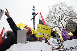 London, UK. 25 January, 2020. Supporters of the Egyptian Revolutionary Council and UK anti-Coup organisations protest outside Parliament against the Egyptian government of President Abdel Fattah el-Sisi.