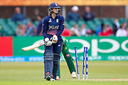 England womens cricket player Fran Wilson is bowled  during the ICC Women's World Cup match between England and Pakistan at the Fischer County Ground, Grace Road, Leicester, United Kingdom on 27 June 2017. Photo by Simon Davies.