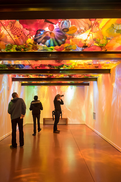 North America, United States, Washington, Seattle. Visitors photograph glass sculptures inside Chihuly Garden and Glass Museum at Seattle Center.